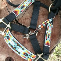 CUSTOM - Handbeaded Halter - Native Style, Turquois- horse halter, nylon halter, beaded halter
