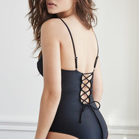 Lace-Up Back One-Piece