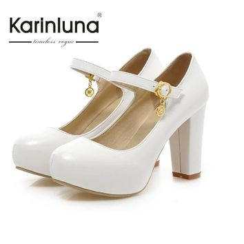 2016 New Brand Candy Colors Nude Pumps Buckle Round Toe Hidden Platform Women Shoes Th