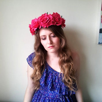 Floral flower crown / headpiece / headband / wreath with pink silk roses festival - 'Blushing Beauty'''