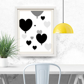 Heart balloon Nursery print, Digital download, Heart, Hot air balloon, Nursery wall art, Newborn gift, Kids wall art, Prints, 8x10, 11x14