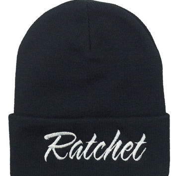 Plain Black and White RATCHET Beanie Cap