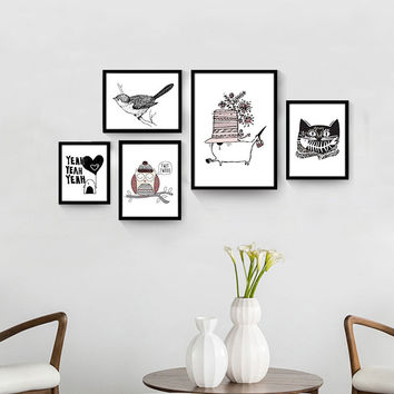 Nordic Animal Canvas Art Print Painting Poster of Cat and Owl Cartoon Canvas Painting For Kids Room