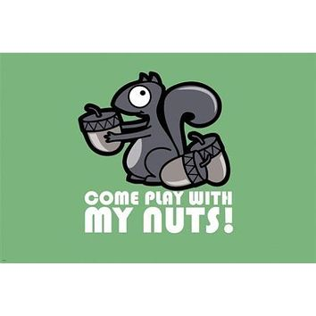 COME PLAY WITH MY NUTS poster 24X36 SQUIRREL acorn FUNNY sexual JOCK unique