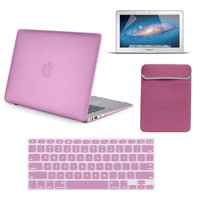 Macbook-Air-13-Case, SlickBlue Hard Case Frosted for MacBook Air 13.3 inch With Sleeve Bag - Keyboard Skin & Clear Screen Protector (Models : A1466 & A1369) - Baby Pink