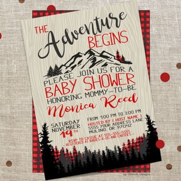 The adventure begins baby shower, Baby Shower Invitation, Printable, Plaid, Adventure, Invite, Mountains Outdoors, buffalo plaid, Woodland