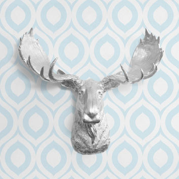 The Alberta Large Silver Faux Taxidermy Resin Moose Head Wall Mount | Silver Moose w/ Colored Antlers