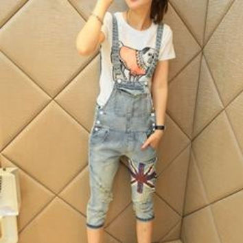 print cropped trousers hole Capri bib pants ripped jeans female denim cotton rompers overalls