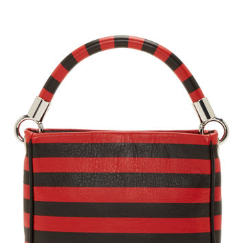 Marc By Marc Jacobs Black And Red Stripe Leather Too Hot To Handle Bag