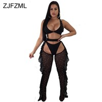 ZJFZML Black White Sexy Three Piece Set Women V Neck Sleeveless Crop Top+Brief Short+Beading Sheer Mesh Pants Side Ruffle Outfit
