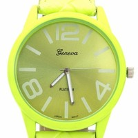 faux-leather-watch NEONPINK NEONYELLOW - GoJane.com