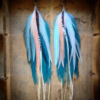 Victoria Extra Long Feather Earrings by InsideTheBirdcage on Etsy
