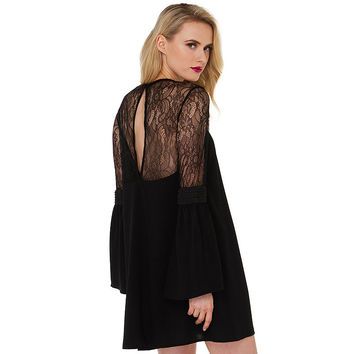 Black Trumpet Sleeve Mini Dress with Lace Upper and Back Hole