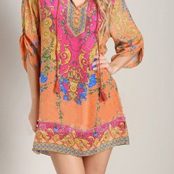 Red Bohemian V-Neck 3/4 Sleeve Mini Dress