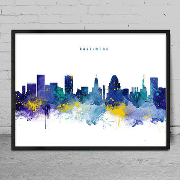 Baltimore Skyline, Baltimore Maryland Skyline, Watercolor Art Print, Wall Art, poster, Cityscape, City Wall art, Artwork, Decor -x138