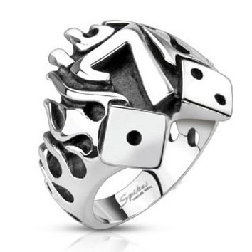 Flaming Lucky Seven With Dice Cast Ring Stainless Steel