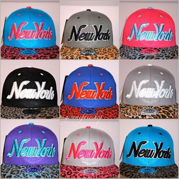 NY Snapback caps, Leopard flat peak fitted hats, retro vintage baseball hiphop