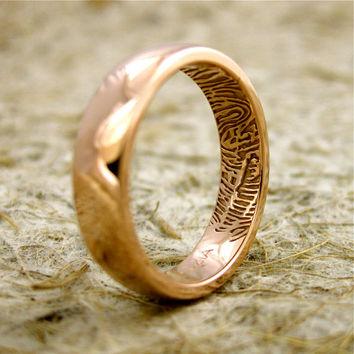 Handmade Finger Print Wedding Ring in 14K Rose Gold with Rounded Profile and Glossy Finish Size 8/5mm