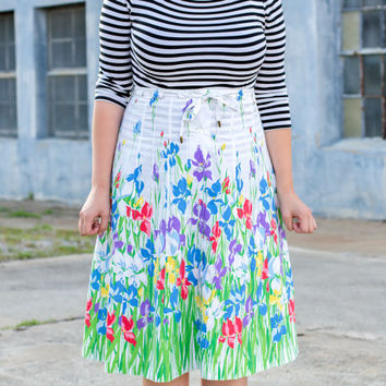 vintage high waisted midi skirt / floral midi skirt / high waisted white skirt / high waisted skirt / 70s skirt / cotton skirt vintage