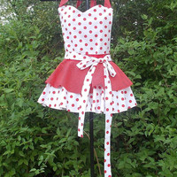 Bib  Apron, Red and White, double Layer, sweetheart neck,  Pin-up girl, gift, women's, Flirty