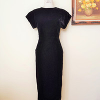 Vintage 1980s Black Velvet Cocktail Wiggle Dress