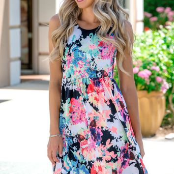 Spring Forward Floral Racerback Pockets Dress Shop Simply Me Boutique SMB – Simply Me Boutique