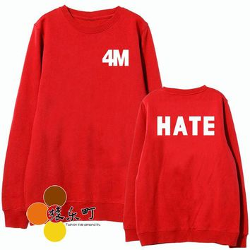 New arrival 4m 4minute 4 minute hate mv same red sweatshirt kpop letters printing o neck pullover hoodie  sudadera