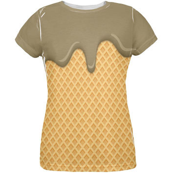 Melting Chocolate Ice Cream Cone All Over Womens T Shirt