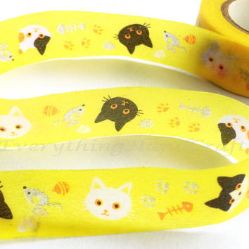 Washi Tape / Japan Sticky Adhesive Tape / Decorative Masking Tape Scrapbooking Tools Favor Stationery Yellow Cats 10m h01
