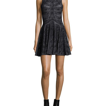 Alexander McQueen Sleeveless Spine Lace Dress, Black/White