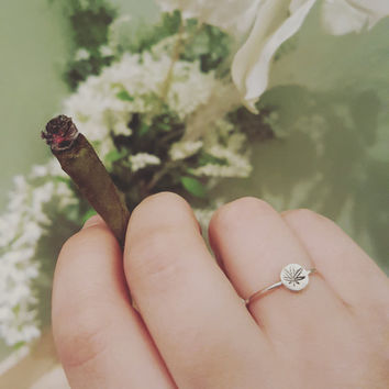 sterling silver hand stamped pot leaf ring, stoner jewelry, 420 jewelry, marijuana jewelry, handmade from the toke shop