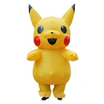 Yellow Inflatable Pikachu Cosplay pokemon Costume Dinosaur Halloween Christmas Inflatable Costume Party Costume for Adult Kids