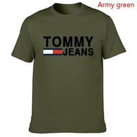 Tommy Fashion New Bust Letter Stripe Print Women Men Top T-shirt Army Green