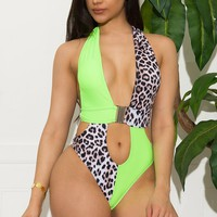 Maldives One Piece Swimsuit - Neon Green