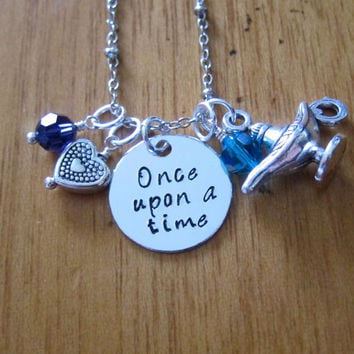 "Disney Inspired Princess Jasmine Necklace. ""Once Upon A Time"". Aladdin. Silver colored, Hand Stamped, Swarovski crystals. FREE shipping"