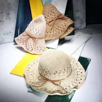 Women Summer Large Brim Foldable Sun Hats Handmade Crochet Straw Beach Hat Sun Protection Hat Female