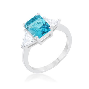 Classic Blue Topaz White Gold Rhodium Engagement Ring, size : 05