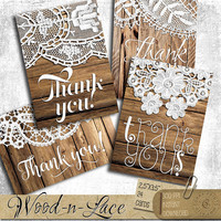 Wood and Lace Thank You Tags - Printable Digital Collage Sheet digital downloads ATC Jewelry Holders, Gift Tags, Wedding Favor Tags CP-439a