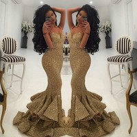 Spaghetti Straps Gold Long Evening Dress Mermaid Sequined