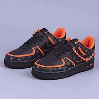 Louis Vuitton x Nike Air Force 1 AF1 full palm air sole low-top sneakers shoes