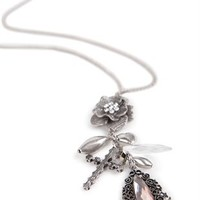 Long Necklace with Mixed Flower Charms