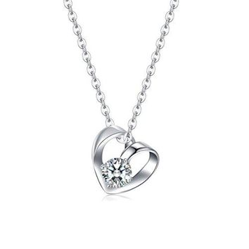 Sterling Silver Heart Necklace - Elegant Everyday Necklace With Cubic Zirconia Stone