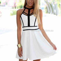 PRE ORDER - BREEZE DRESS (Expected Delivery 9th June, 2014) , DRESSES, TOPS, BOTTOMS, JACKETS & JUMPERS, ACCESSORIES, 50% OFF SALE, PRE ORDER, NEW ARRIVALS, PLAYSUIT, COLOUR, GIFT VOUCHER,,White,CUT OUT,SLEEVELESS,MINI Australia, Queensland, Brisbane