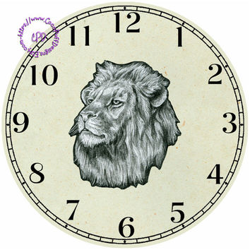 """Drawing of a Lion Art - -DIY Digital Collage - 12.5"""" DIA for 12"""" Clock Face Art - Crafts Projects"""