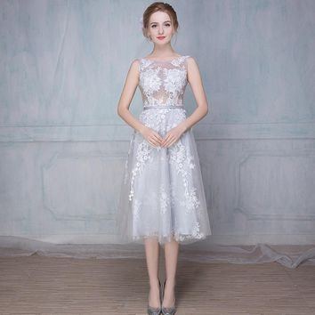 Sexy Backless Silver A Line Lace Party Cocktail Dresses 2017 Formal Women Tea Length Prom Graduation Gowns robe de cocktail TC67