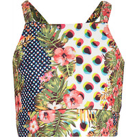 River Island Girls green animal tropical print crop tank