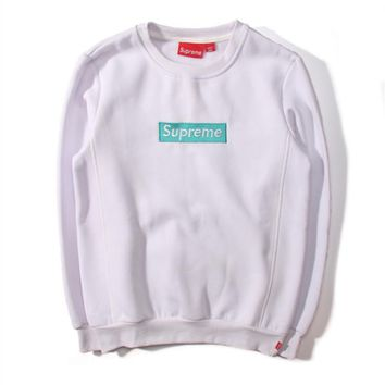 SUPREME new autumn and winter camouflage embroidery lovers sweater plus velvet thick coat White