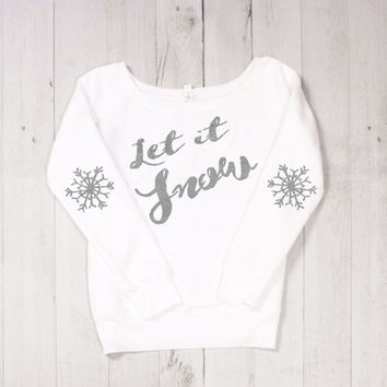 Let It Snow White Christmas Holiday Long Sleeve Glitter Shirt Sweatshirt Jumper Snowflake Elbow Patch and Cold Weather Snow