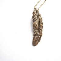 golden feather necklace  unisex jewelry / mens by friendlygesture