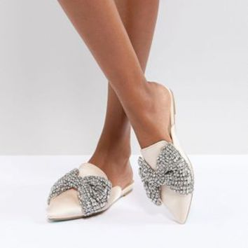 Blue By Betsey Johnson Embellished Flat Wedding Mules at asos.com